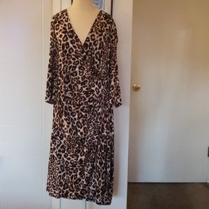 Beautiful Brown and Tan Leopard faux wrap dress